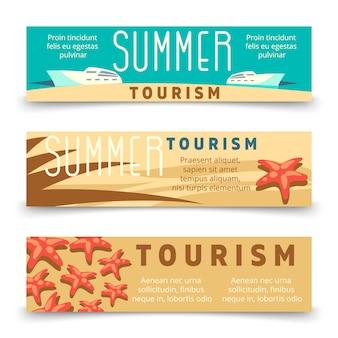 Sommertourismus-fahnenschablone mit yacht und starfish