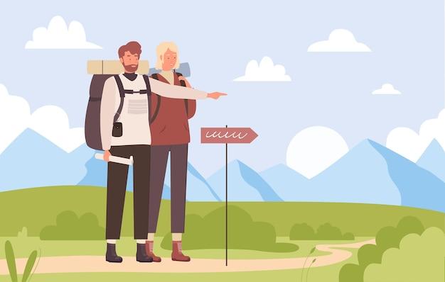 Sommertouristenreise wandern outdoor-abenteuer junger mann wanderer zeigt weg nach vorne
