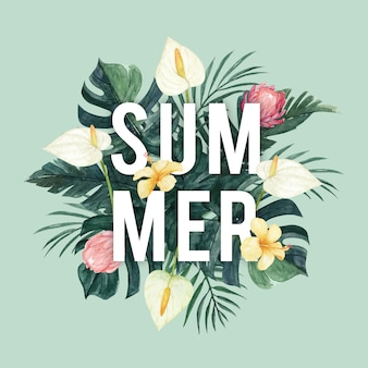 Sommertypografie mit tropischen aquarellblumen