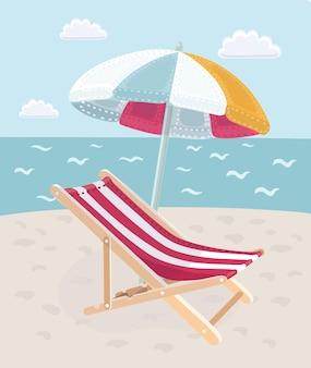 Sommerurlaub am strand bild liegen mit sonnenschirm an einem tropischen meer in der heißen jahreszeit