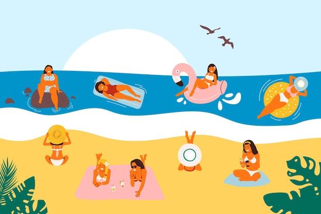Sommerurlaub am strand. flache meeresurlaubsaktivitäten, frauen, menschen reisen in sandigem design. cartoon-ozean-freizeit, mann, der spaß hat und im freien.