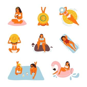 Sommerurlaub am strand. flache meeresurlaubsaktivitäten, frauen, menschen reisen in sandigem design. karikatur
