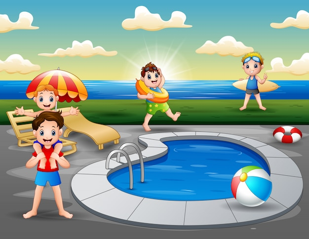 Sommerurlaub im schwimmbad am strand