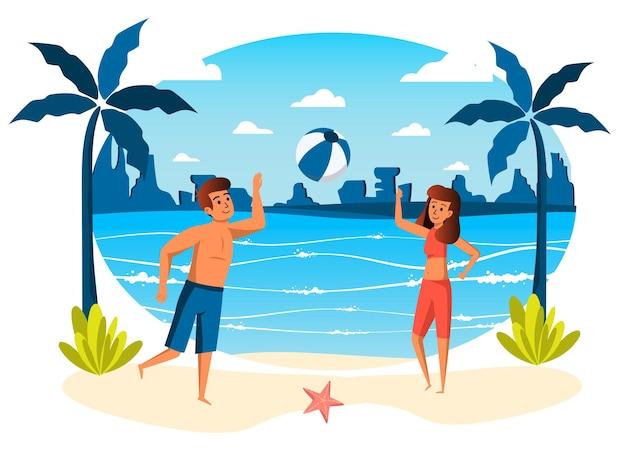 Sommerurlaub isolierte szene paar spielt ball am strand