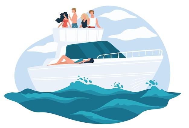 Sommerurlaub und entspannung, leute auf yacht. marine rest von reichen leuten, wohlhabende freunde freizeit im meer. erholung und glück, sonniges wetter und abenteuer auf dem boot. vektor im flachen stil