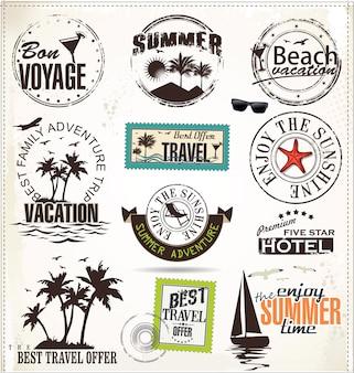 Sommerurlaub und reiseaufkleber