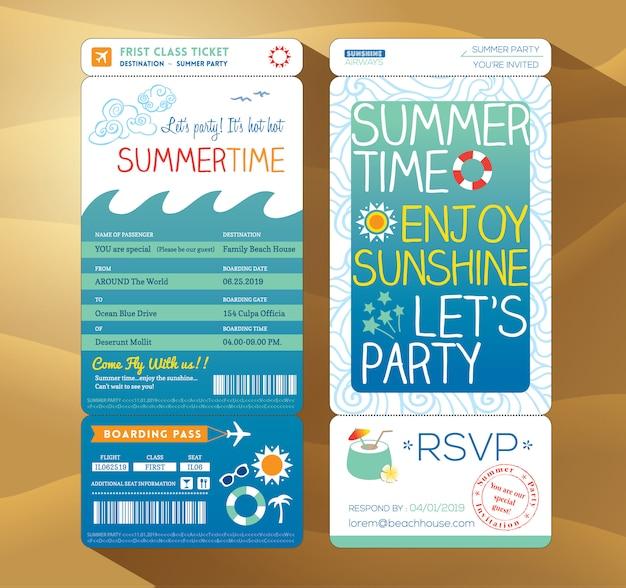 Sommerurlaub urlaubsparty bordkarte hintergrund