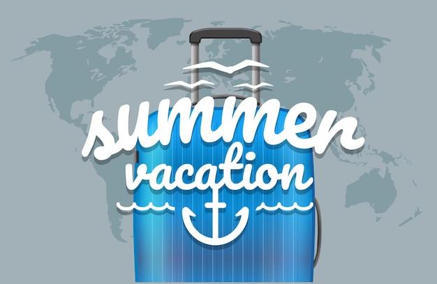 Sommerurlaub. weltkarte mit logo und handtasche
