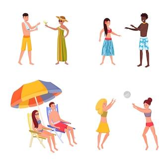 Sommerurlaubsort für freunde, familiensatz. volleyball spielen, sonnenbaden am ufer mit freundin, freund