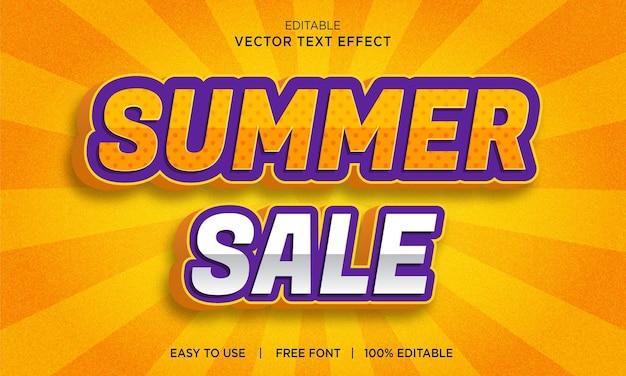Sommerverkauf 3d-texteffekt mit premium-vektor