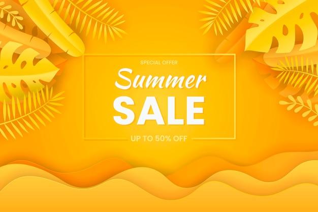 Sommerverkauf banner papiere schneiden stil