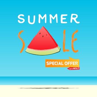 Sommerverkauf banner vorlage design. eine scheibe wassermelone im flachen stil. sommerverkauf typografie auf see.