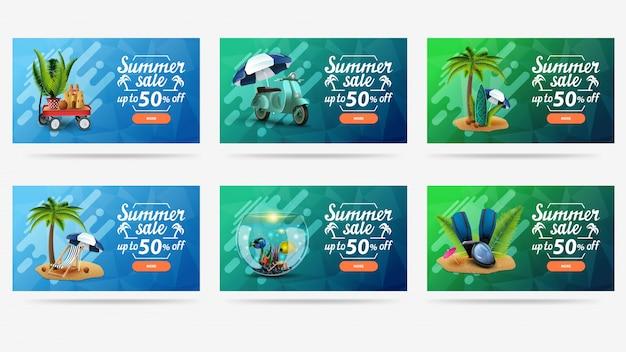 Sommerverkauf, buntes helles web-banner für ihre website mit sommerikonen, beschriftungen und knöpfen.
