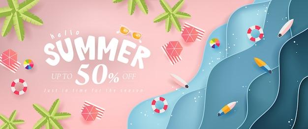 Sommerverkauf design mit papierschnitt tropischen strand hell farbe hintergrund layout banner .orange sonnenbrille konzept.gutschein rabatt. illustrationsvorlage.