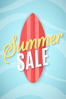 Sommerverkauf flyer. rote tafel zum surfen und für das meer.