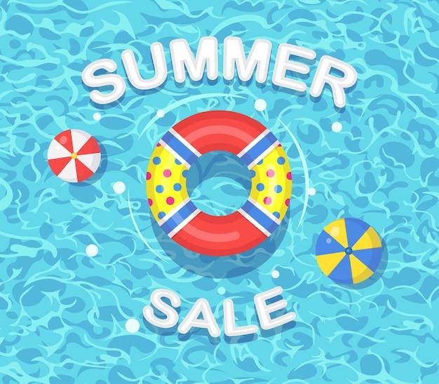 Sommerverkauf mit rettungsring, der in der schwimmbadillustration schwimmt