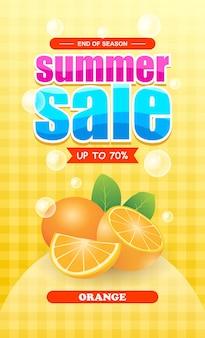 Sommerverkauf orange fruchtbanner