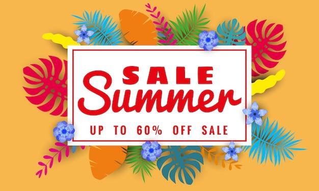 Sommerverkauf papierschnitt stil, banner vorlage für saisonale verkäufe mit tropischen blättern blumen hintergrund, farbe exotischen blumenmuster banner