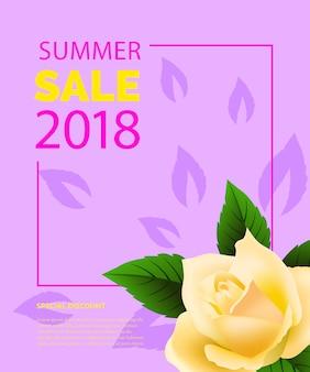 Sommerverkauf schriftzug im rahmen mit rose. sommerangebot oder verkaufswerbung