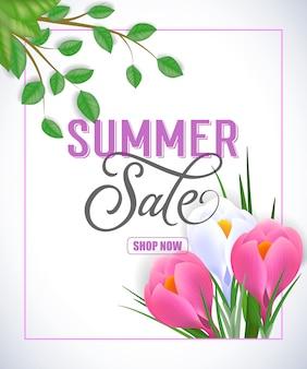 Sommerverkauf shop jetzt schriftzug. kreative inschrift mit wirbelelementen