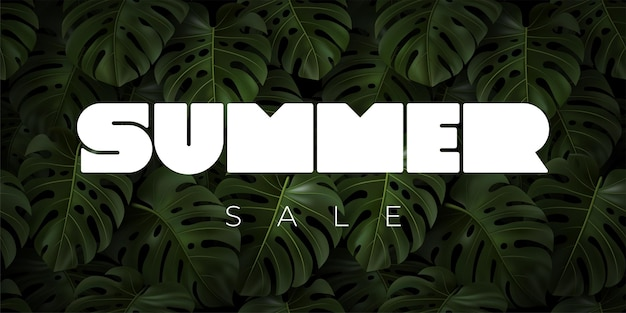 Sommerverkauf typografie mit realistischen tropischen blättern monstera