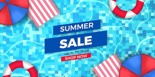 Sommerverkaufsangebot banner-werbung mit pool-draufsicht flach entspannen