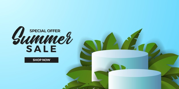Sommerverkaufsangebot-bannervorlage mit 3d-zylinderpodium-produktanzeige mit grünen tropischen blättern