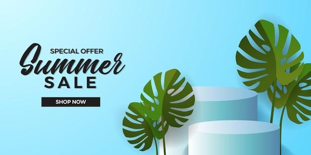 Sommerverkaufsangebot-bannervorlage mit 3d-zylinderpodium-produktanzeige mit grüner tropischer monstera-blätterpflanze