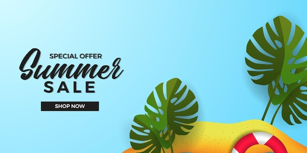 Sommerverkaufsangebot-bannervorlage mit sandstrandinsel mit grüner tropischer monstera-blätteranlage