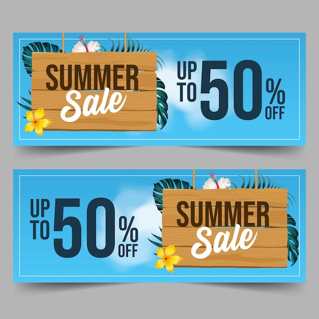 Sommerverkaufsbanner mit blättern