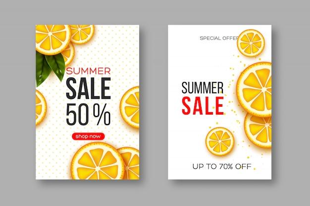 Sommerverkaufsbanner mit geschnittenen orangefarbenen stücken, blättern und gepunktetem muster. weißer hintergrund - vorlage für saisonale rabatte