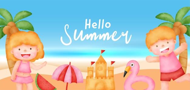 Sommerverkaufsbanner mit sommerelement i