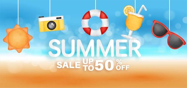 Sommerverkaufsbanner mit sommerelement.