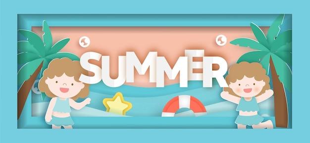 Sommerverkaufsbanner mit sommerelementen im papierschnittstil