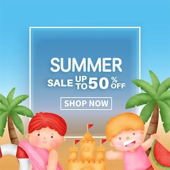 Sommerverkaufsbanner mit sommerelementen
