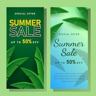 Sommerverkaufsbanner mit tropischen blättern