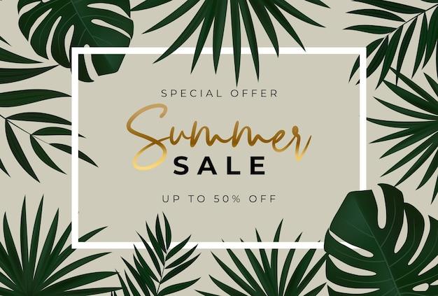 Sommerverkaufsbanner mit tropischen palmblättern