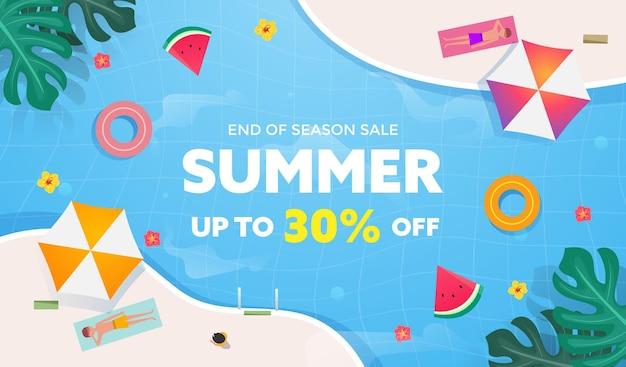 Sommerverkaufsbanner mit tropischer, wassermelone, regenschirm und sonnenbadender mannkarikatur auf schwimmbadwasser