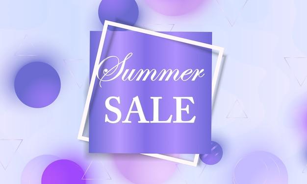 Sommerverkaufsbanner mit violetten weichen kugeln und rahmen