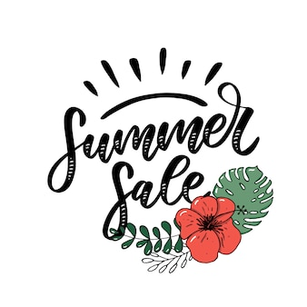 Sommerverkaufsbeschriftung mit blume