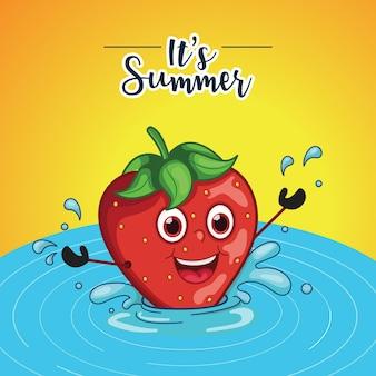Sommerverkaufsdesign mit erdbeere, die im wasser steht