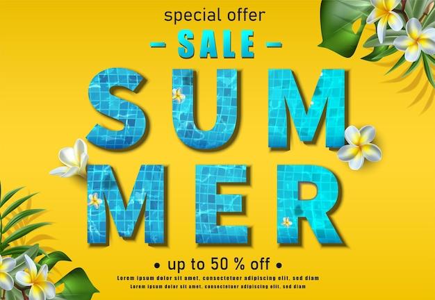 Sommerverkaufsfahne auf gelber wand mit exotischen blumen und pflanzen