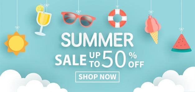 Sommerverkaufsfahne mit sommerelement im papierschnittstil für schablone und fahnen