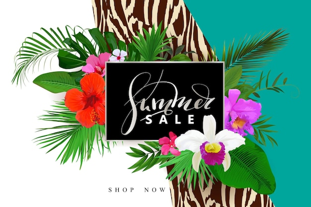 Sommerverkaufshintergrund mit orchidee, hibiskusblüten und palmen, monstera-blättern für webdesigns