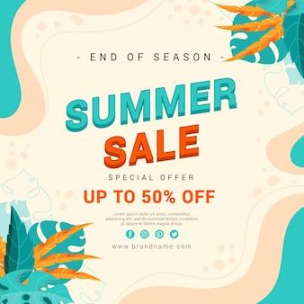 Sommerverkaufsillustration zum ende der saison