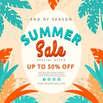 Sommerverkaufsillustration zum saisonende mit sonderangebot
