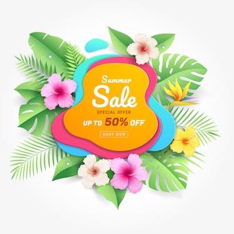 Sommerverkaufskarte mit hibiskusblumen auf tropischem blattpapierschnittarthintergrund
