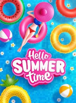 Sommerverkaufsplakat und bannervorlage mit frauen auf rundem pool schwimmt im gefliesten poolhintergrund tile