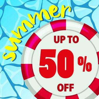 Sommerverkaufsplakatdesign mit rundem floss auf wasser