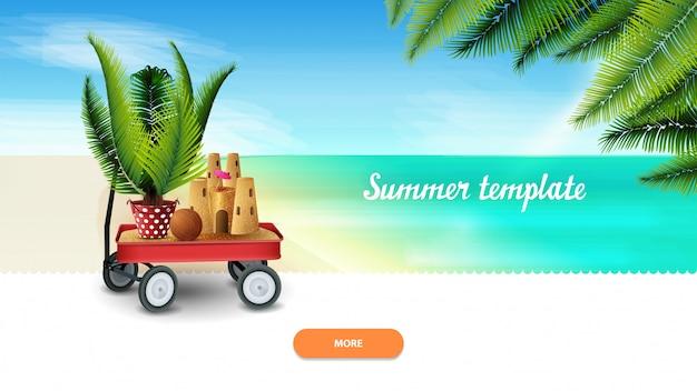 Sommervorlage für ihre kreativität mit gartenwagen mit sand, sandburg und palme